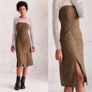 BDG Green Linen Midi Dress